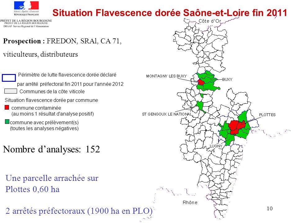 Situation Flavescence dorée Saône-et-Loire fin 2011