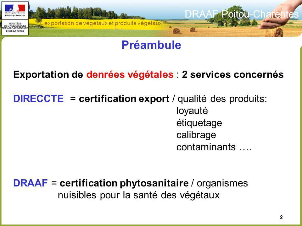 Préambule DRAAF Poitou-Charentes