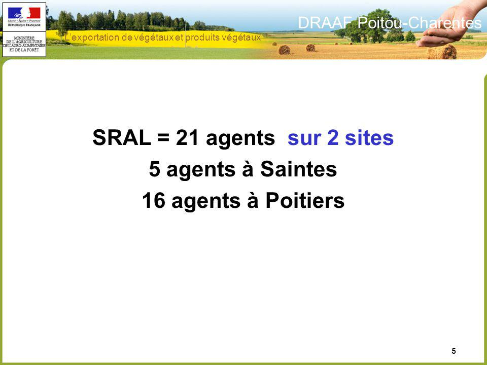 SRAL = 21 agents sur 2 sites 5 agents à Saintes