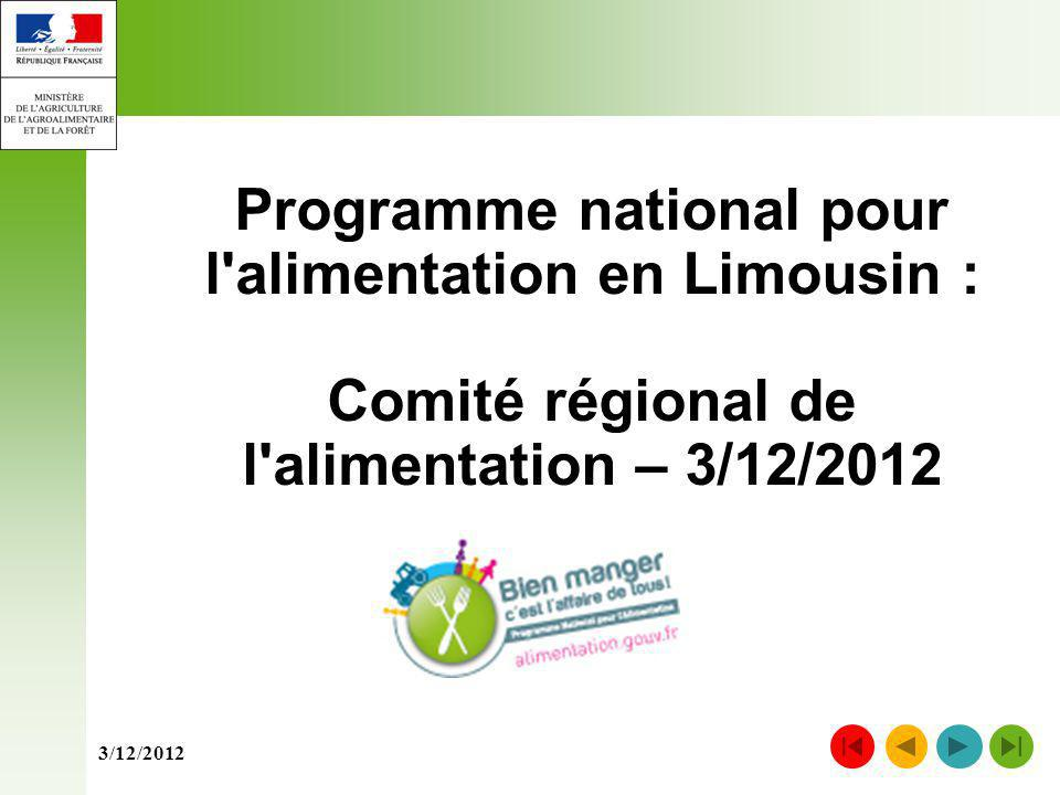 Programme national pour l alimentation en Limousin :