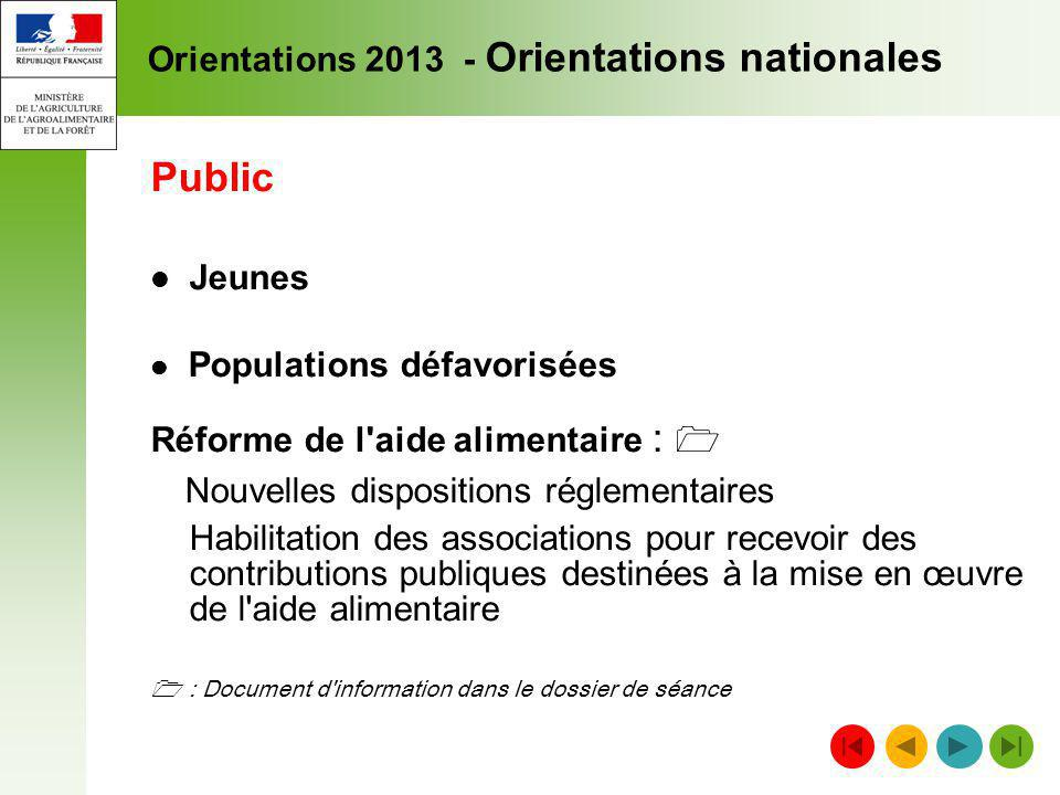 Orientations 2013 - Orientations nationales