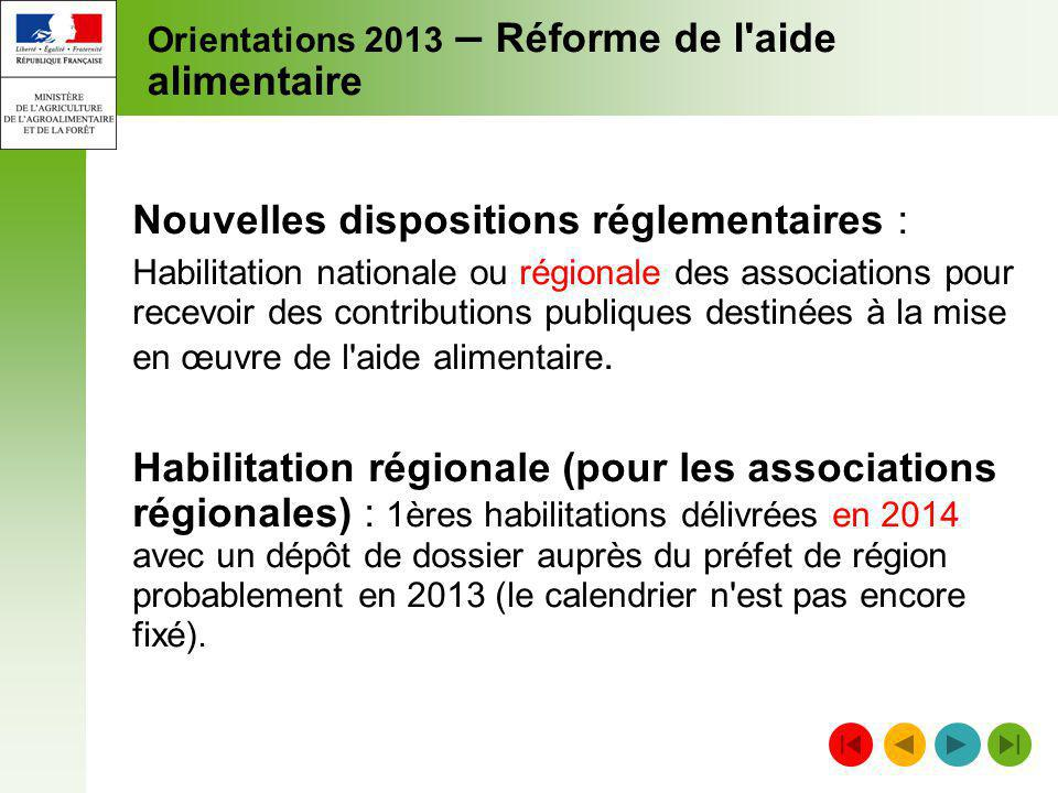 Orientations 2013 – Réforme de l aide alimentaire
