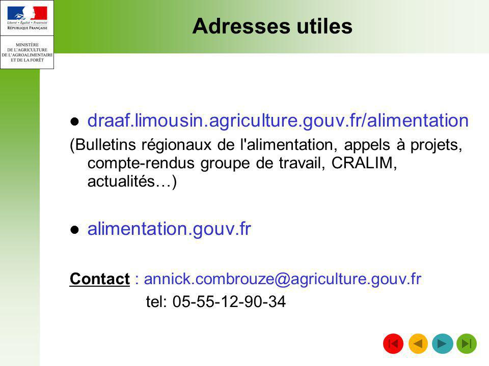 Adresses utiles draaf.limousin.agriculture.gouv.fr/alimentation