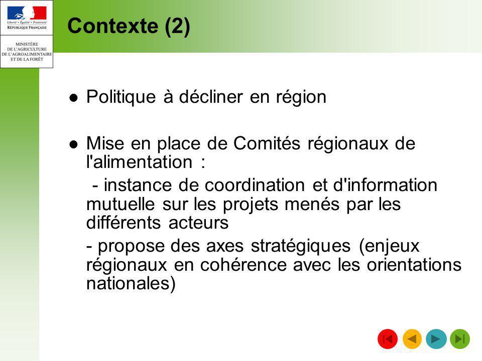 Contexte (2) Politique à décliner en région