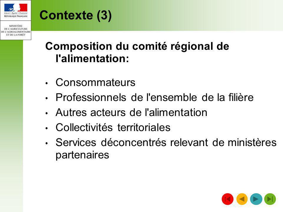 Contexte (3) Composition du comité régional de l alimentation: