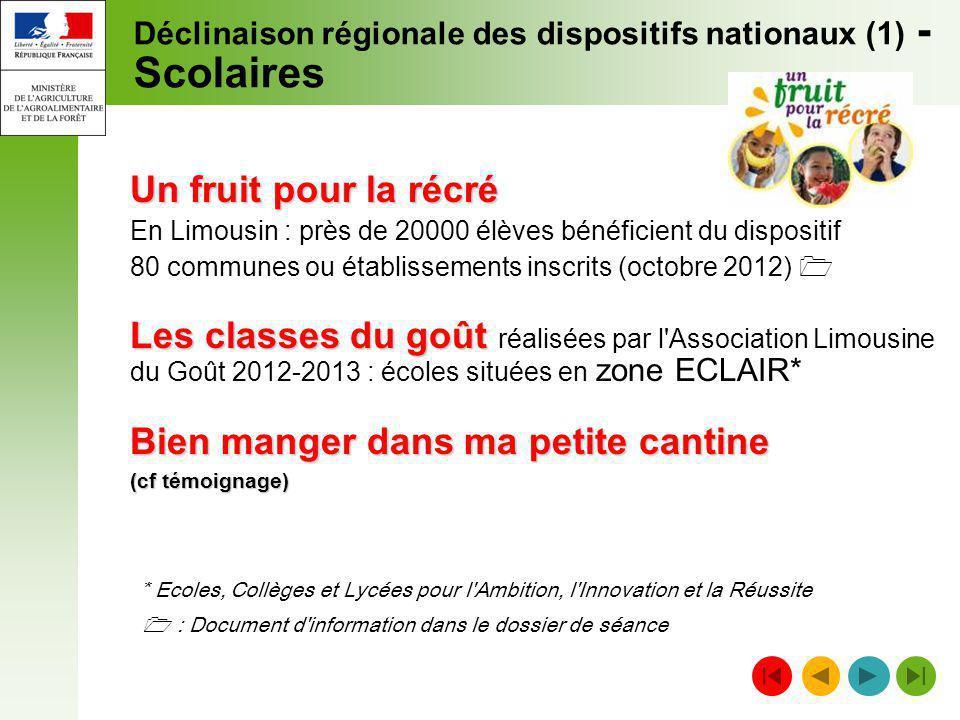 Déclinaison régionale des dispositifs nationaux (1) - Scolaires