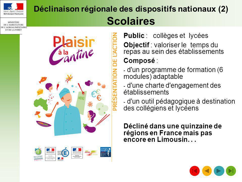 Déclinaison régionale des dispositifs nationaux (2) Scolaires