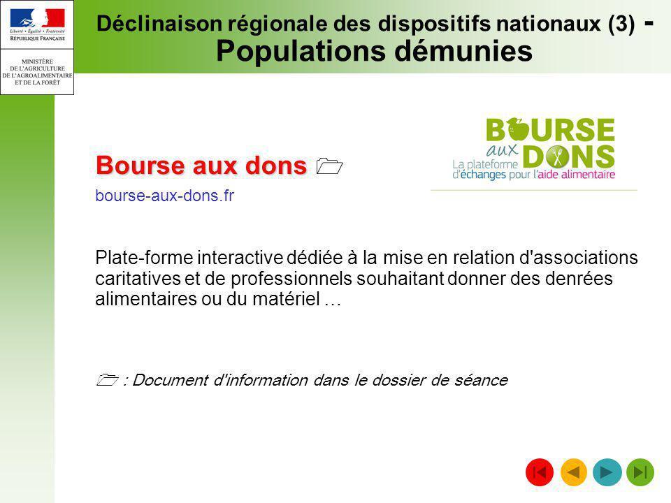 Déclinaison régionale des dispositifs nationaux (3) -Populations démunies