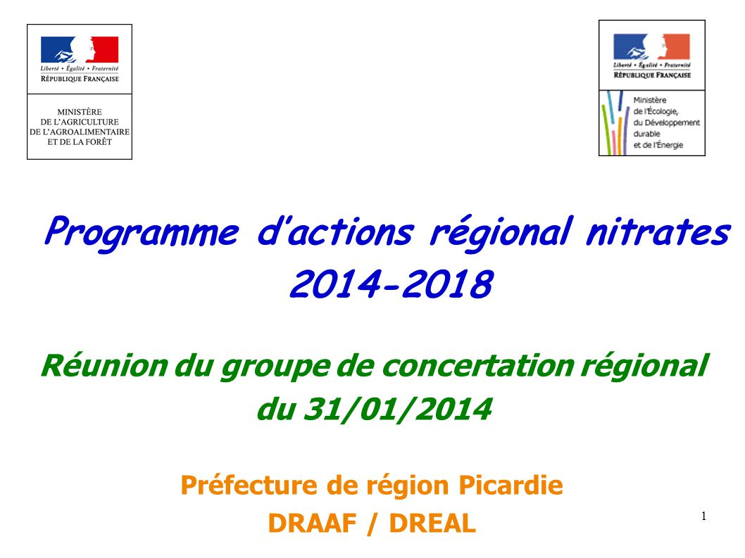 Programme d'actions régional nitrates 2014-2018