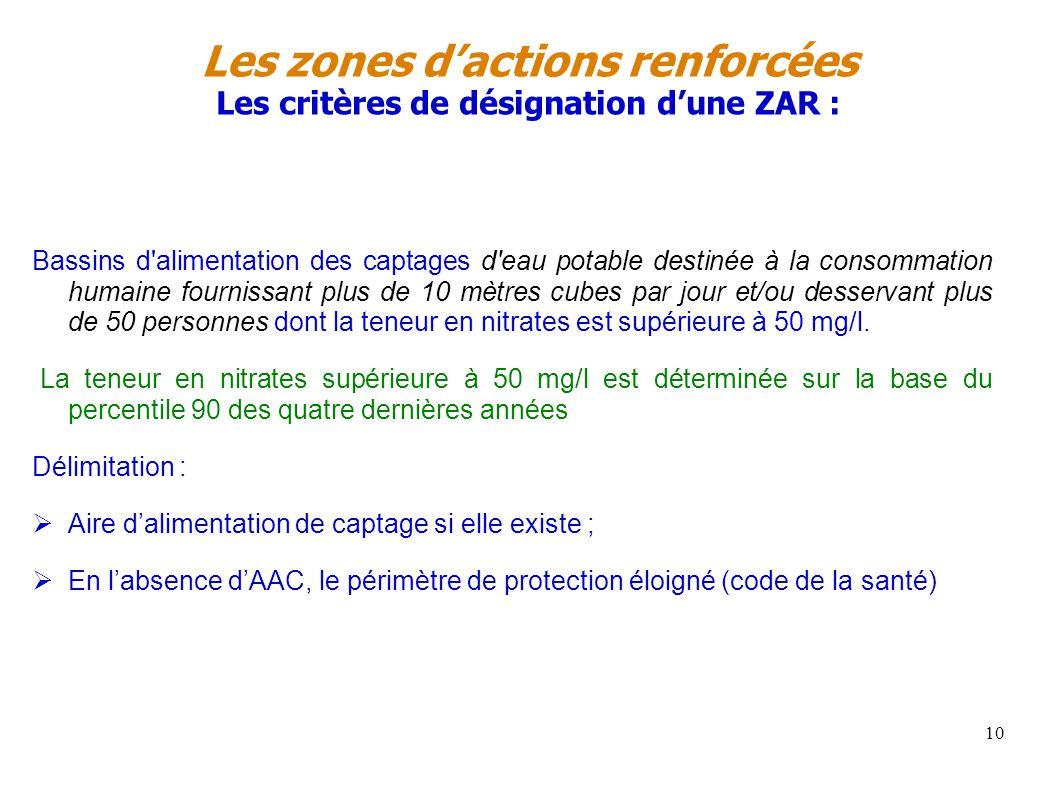 Les zones d'actions renforcées Les critères de désignation d'une ZAR :