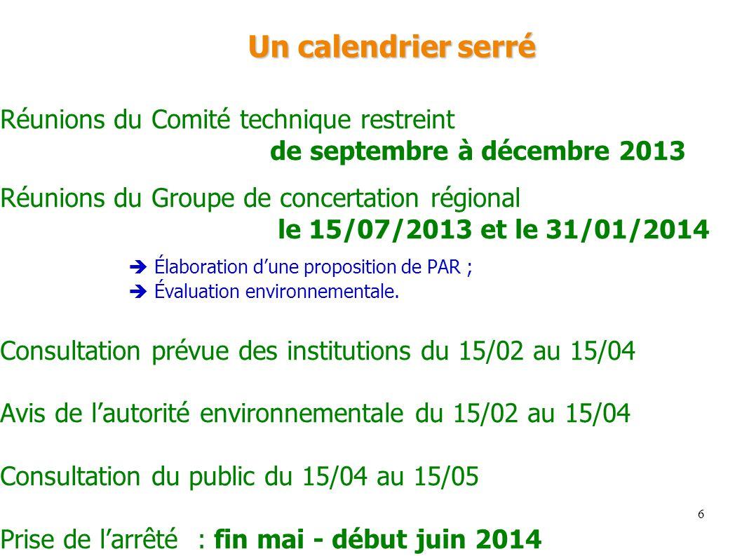 Un calendrier serré Réunions du Comité technique restreint
