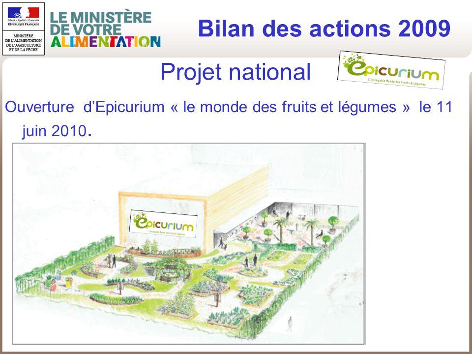 Bilan des actions 2009 Projet national
