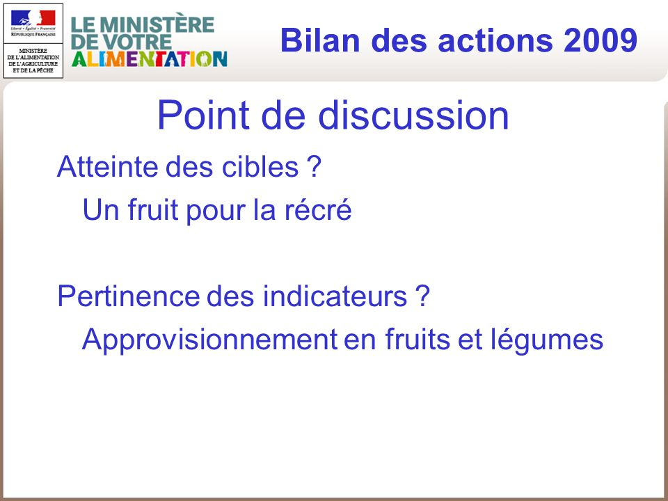 Point de discussion Bilan des actions 2009 Atteinte des cibles