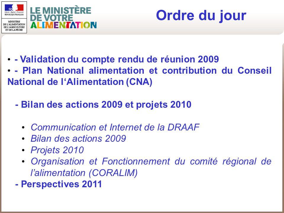 Ordre du jour - Validation du compte rendu de réunion 2009