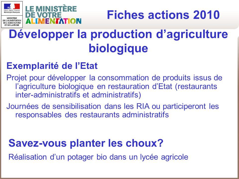 Développer la production d'agriculture biologique