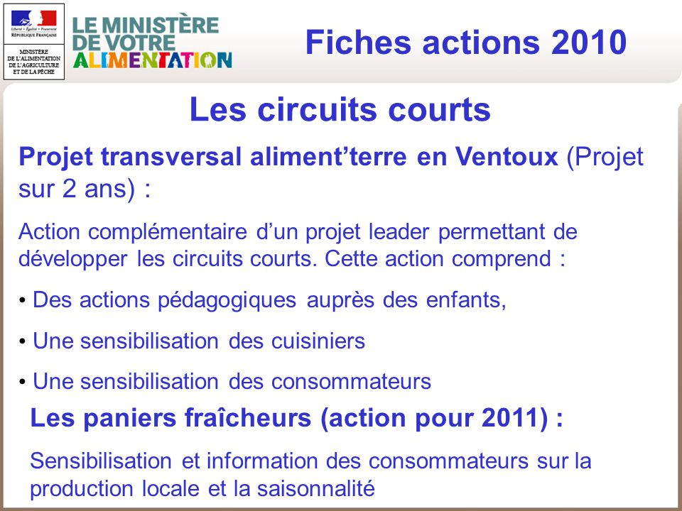 Fiches actions 2010 Les circuits courts