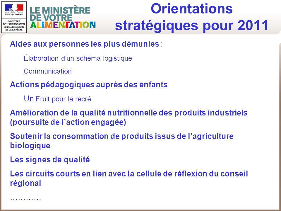 Orientations stratégiques pour 2011