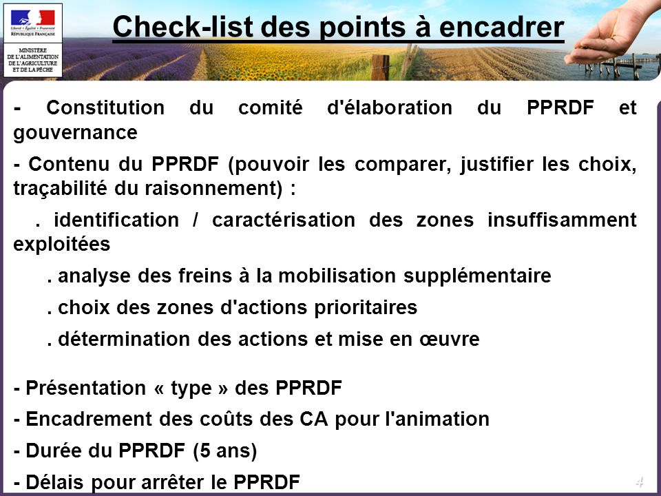 Check-list des points à encadrer
