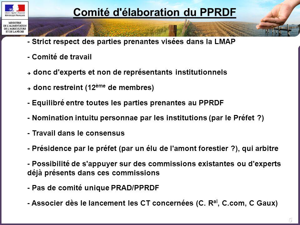 Comité d élaboration du PPRDF