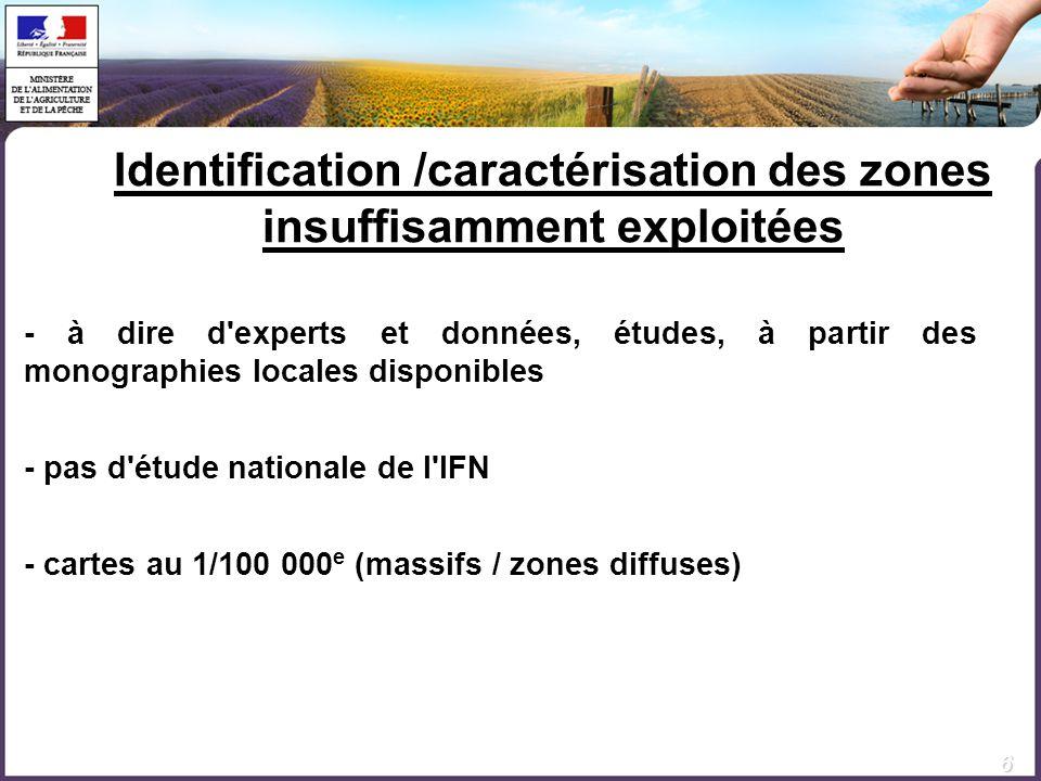 Identification /caractérisation des zones insuffisamment exploitées