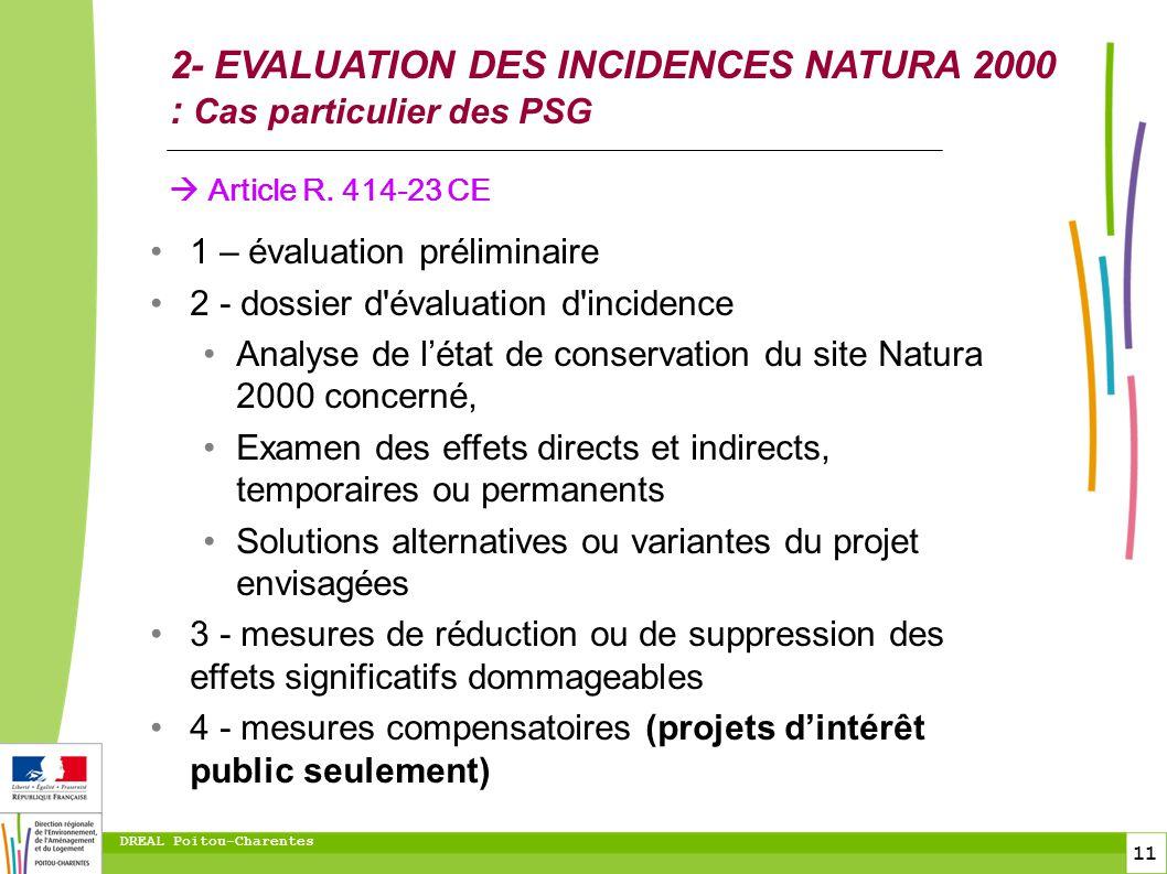 2- EVALUATION DES INCIDENCES NATURA 2000 : Cas particulier des PSG