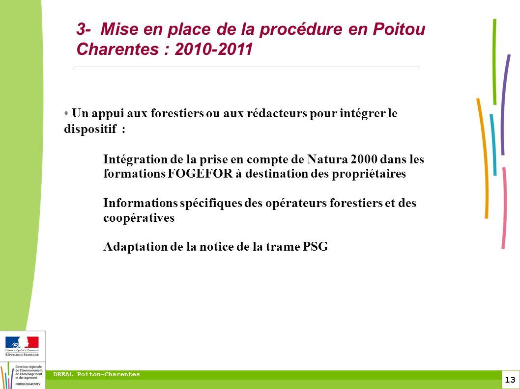3- Mise en place de la procédure en Poitou Charentes : 2010-2011