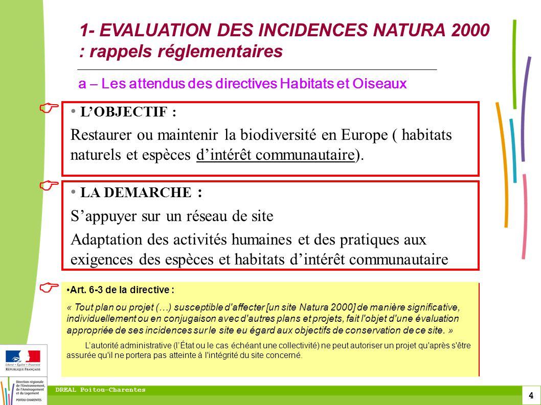 toitototototoot 1- EVALUATION DES INCIDENCES NATURA 2000 : rappels réglementaires. a – Les attendus des directives Habitats et Oiseaux.