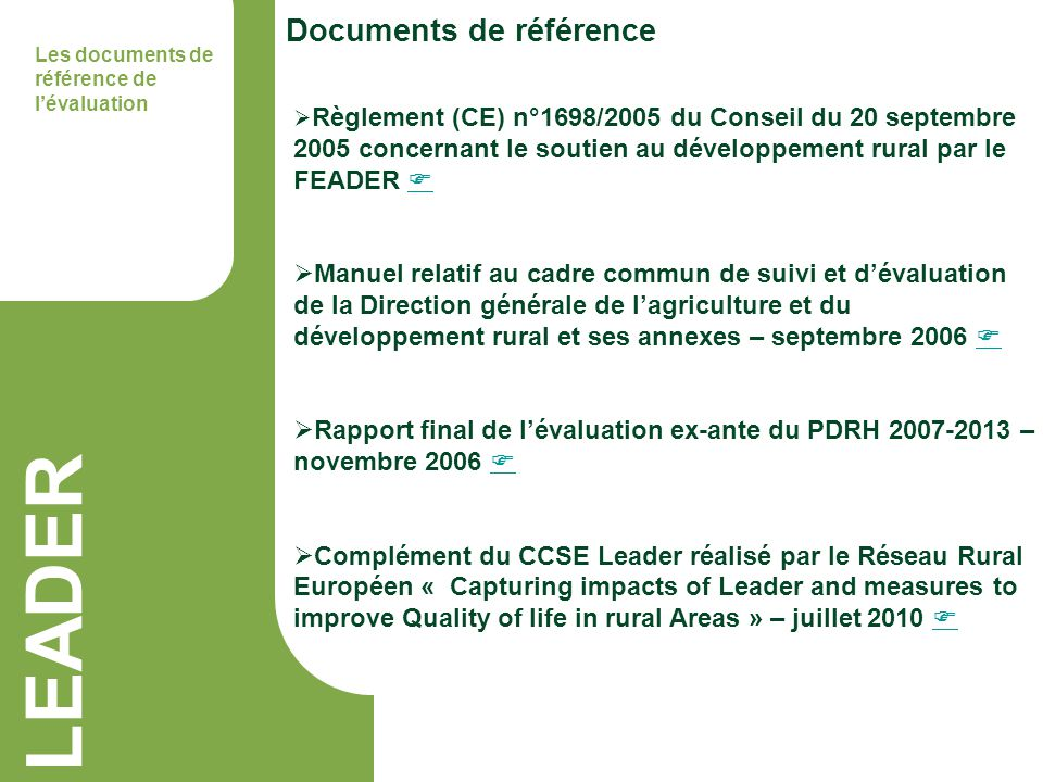 LEADER Documents de référence