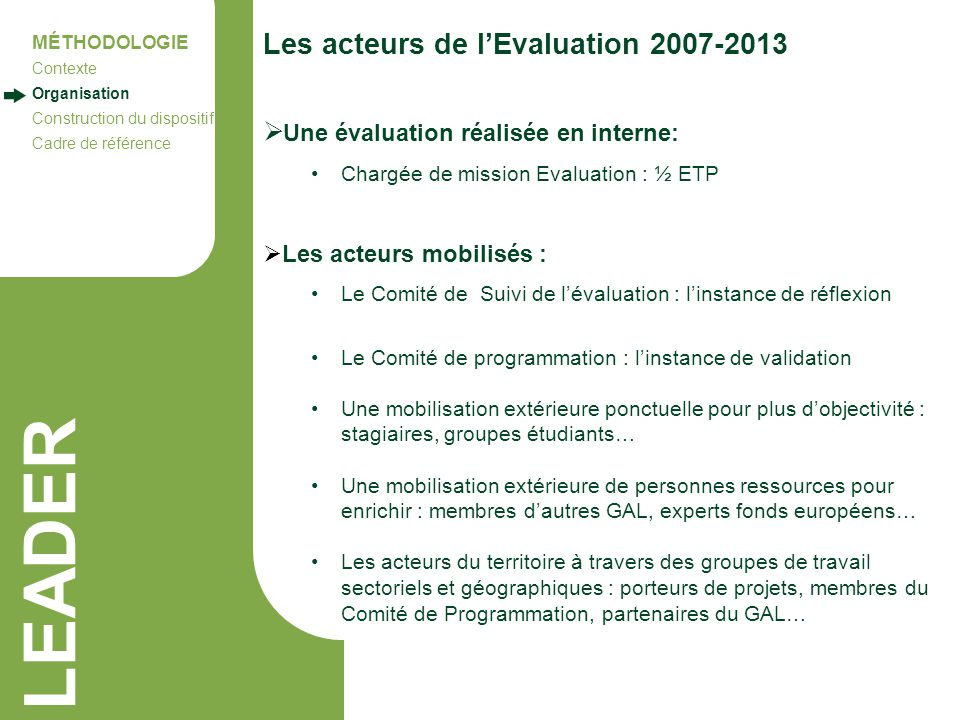 LEADER Les acteurs de l'Evaluation 2007-2013