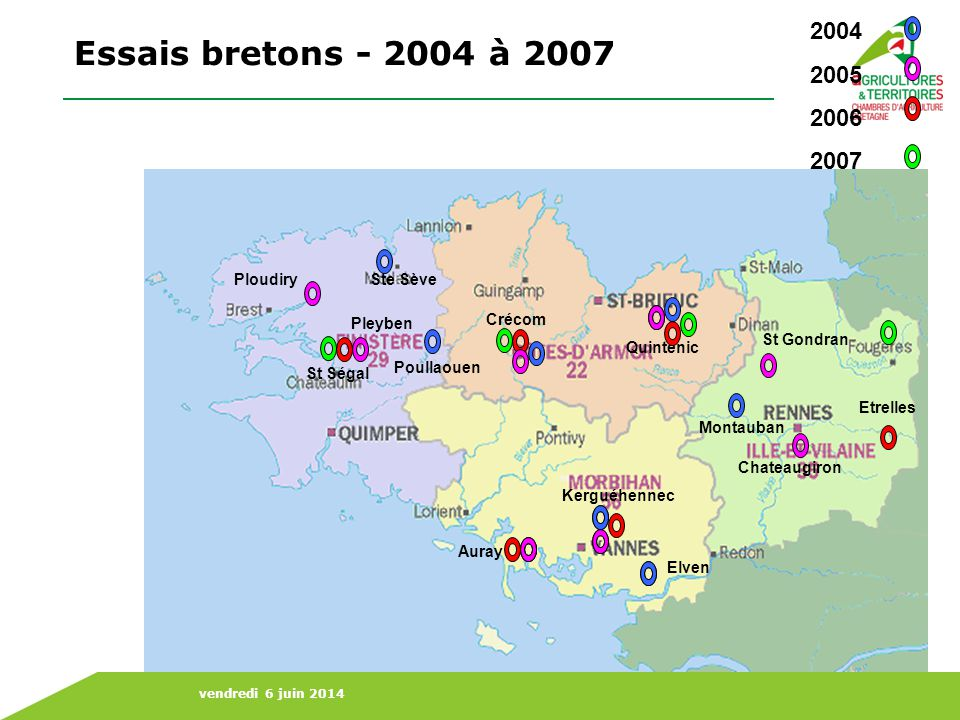 Essais bretons - 2004 à 2007 2004 2005 2006 2007 Ploudiry Ste Sève