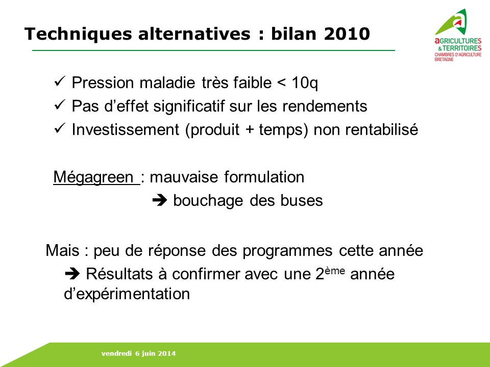 Techniques alternatives : bilan 2010