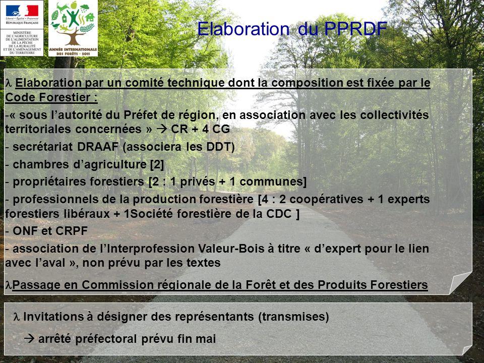 Elaboration du PPRDF  Elaboration par un comité technique dont la composition est fixée par le Code Forestier :