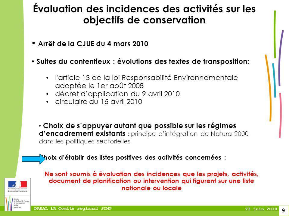 Évaluation des incidences des activités sur les objectifs de conservation