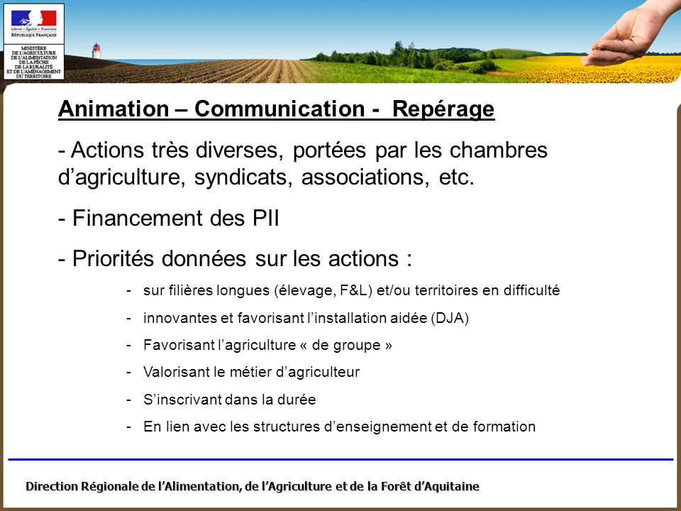 Animation – Communication - Repérage