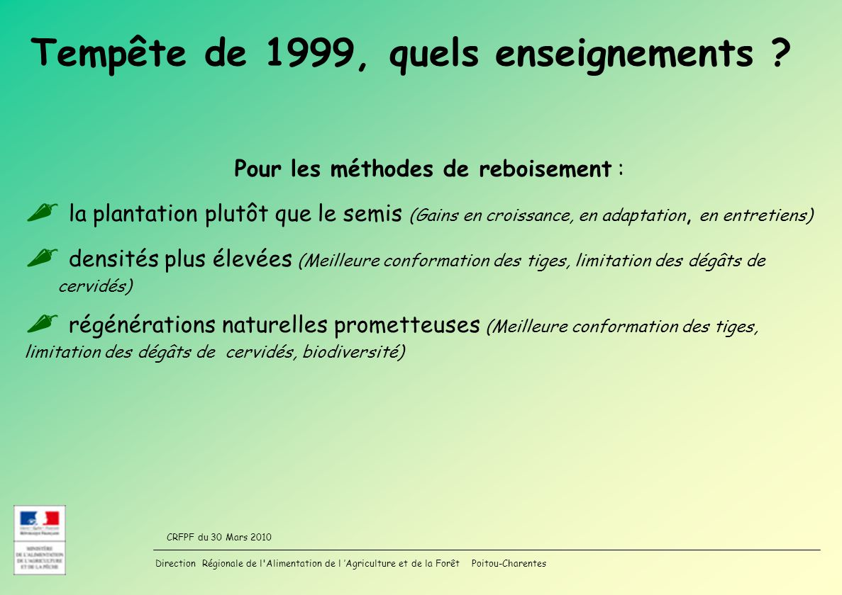 Tempête de 1999, quels enseignements