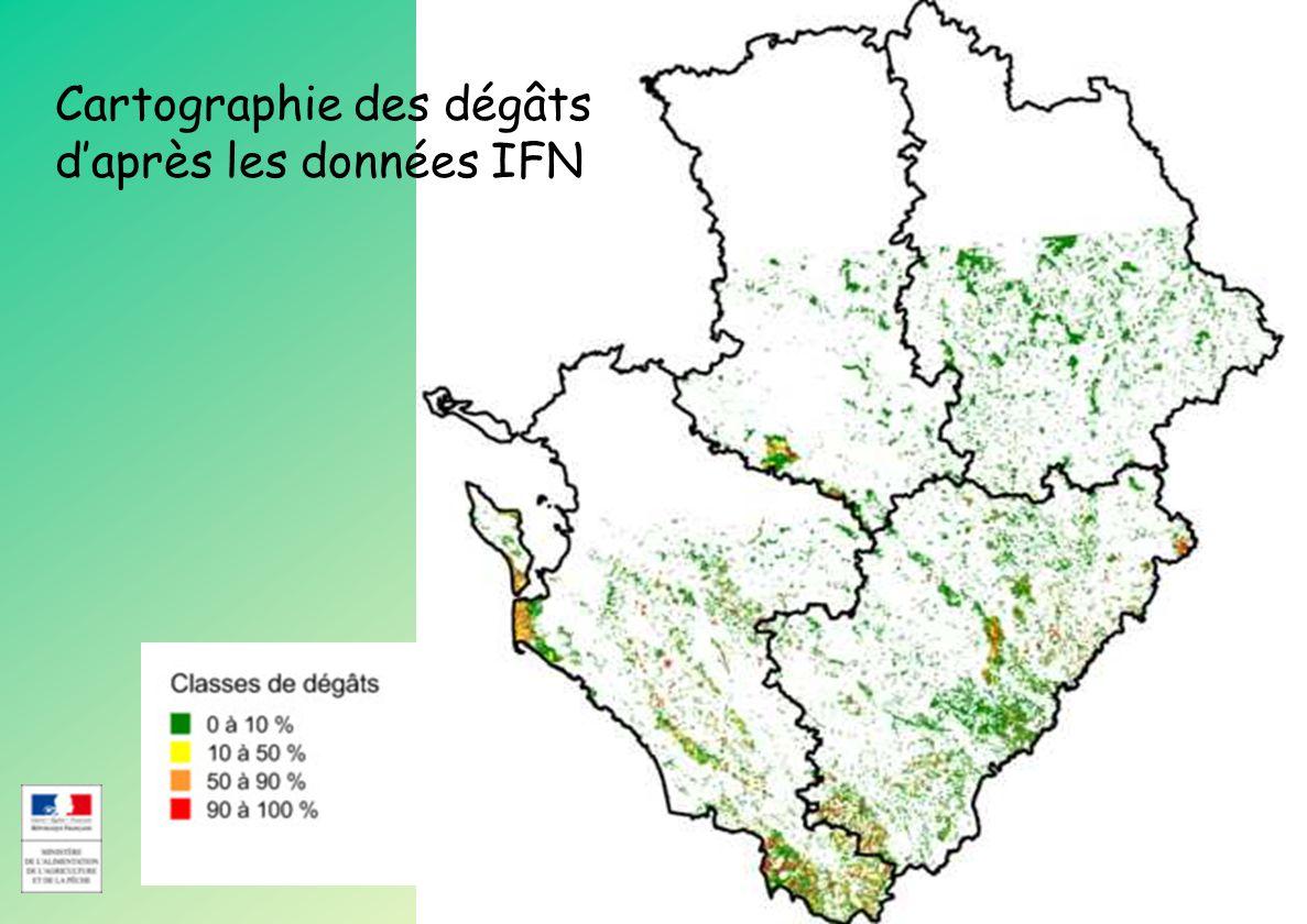 Cartographie des dégâts d'après les données IFN