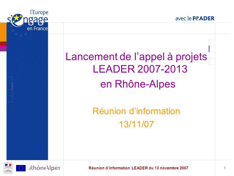 Réunion d'information LEADER du 13 novembre 2007