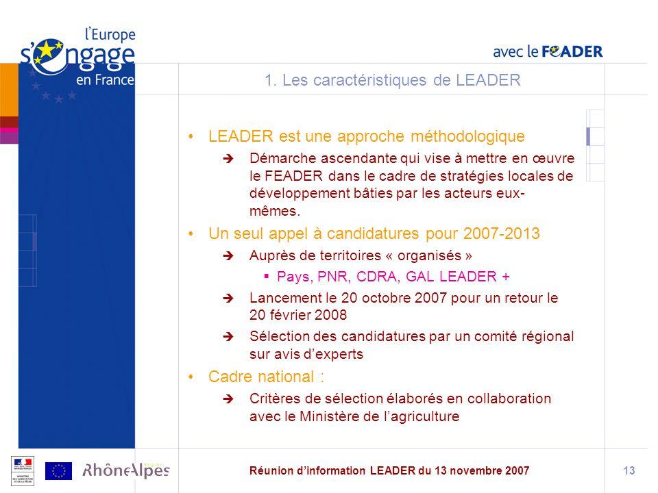 1. Les caractéristiques de LEADER