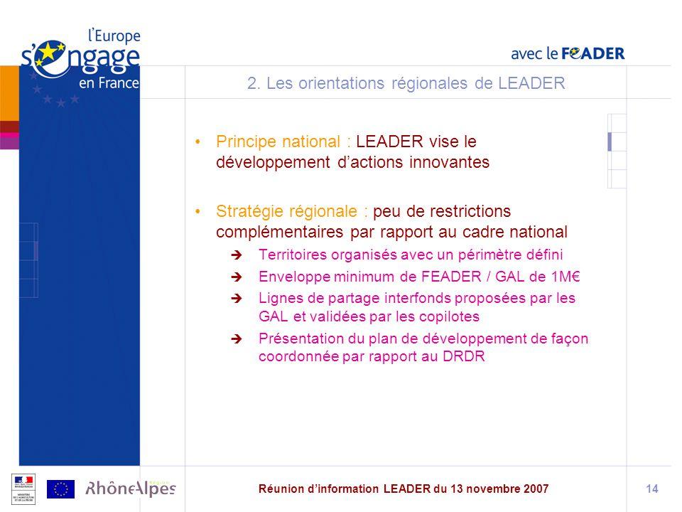2. Les orientations régionales de LEADER