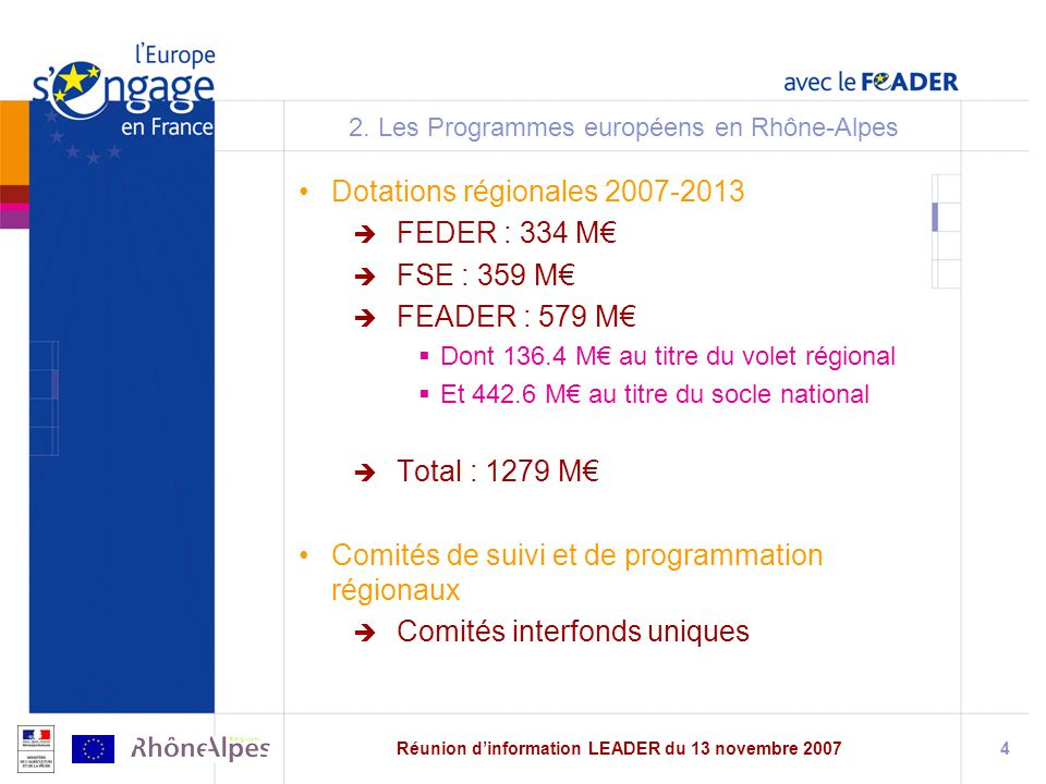 2. Les Programmes européens en Rhône-Alpes