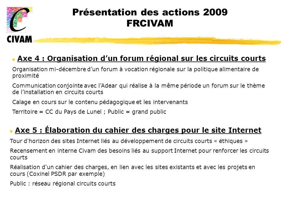 Présentation des actions 2009 FRCIVAM