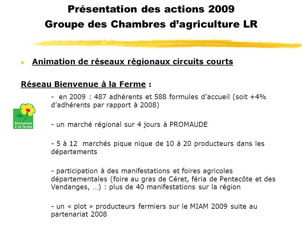 Présentation des actions 2009 Groupe des Chambres d'agriculture LR