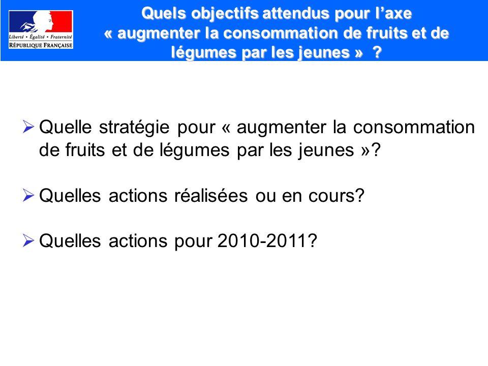 Quelles actions réalisées ou en cours Quelles actions pour 2010-2011