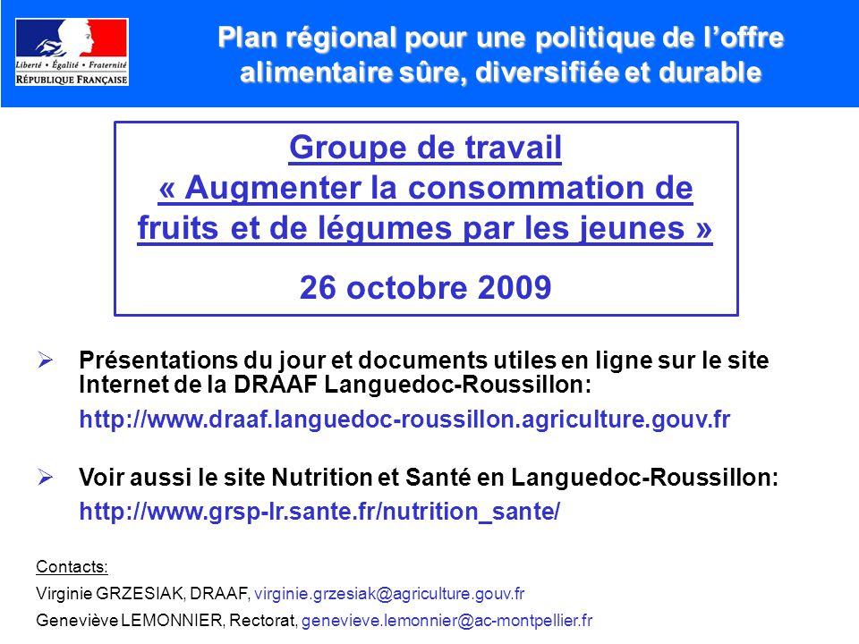 « Augmenter la consommation de fruits et de légumes par les jeunes »