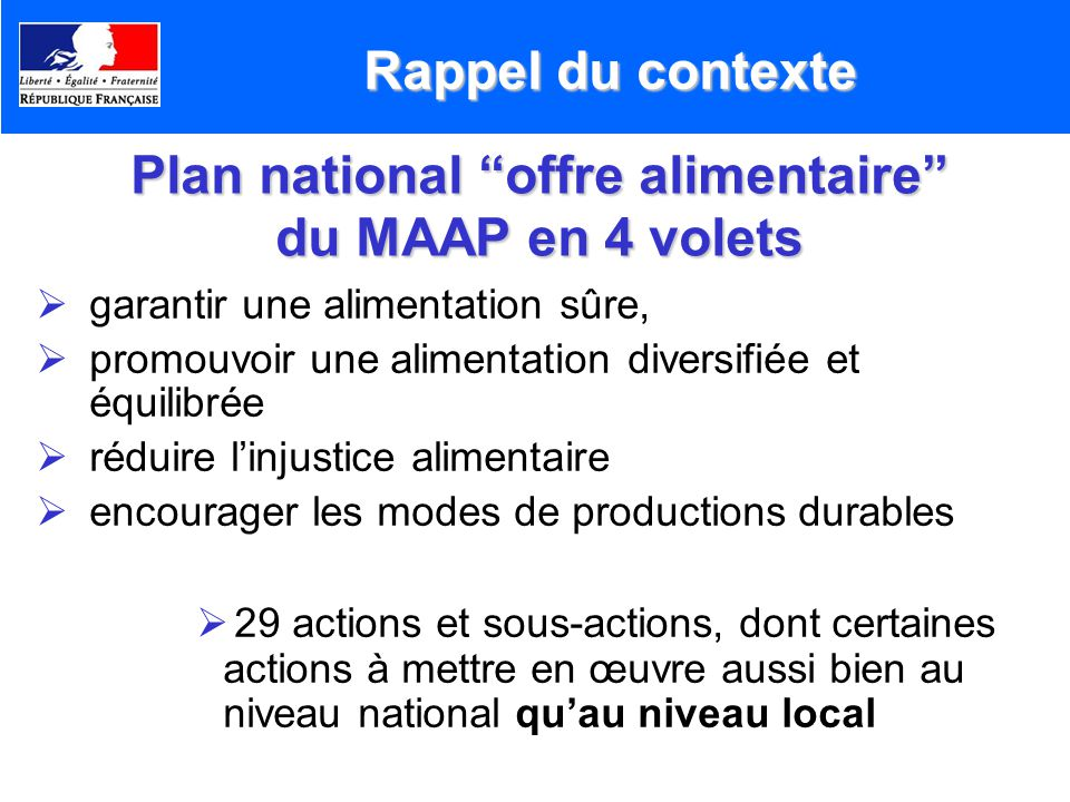 Plan national offre alimentaire