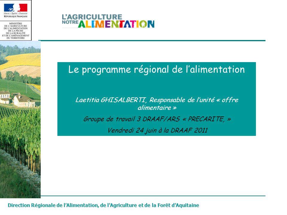 Le programme régional de l'alimentation