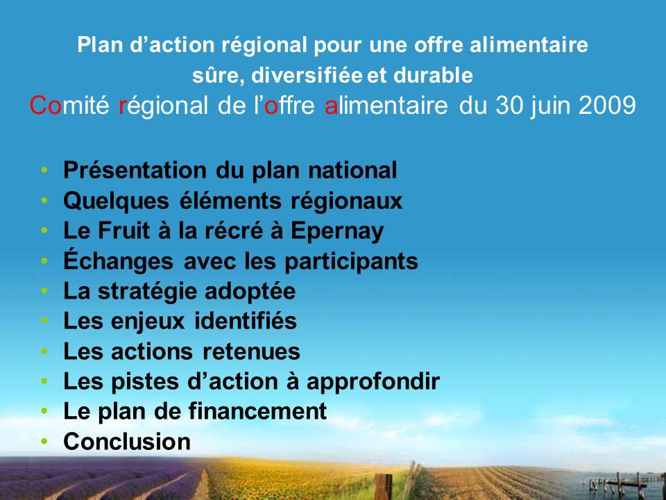Présentation du plan national Quelques éléments régionaux