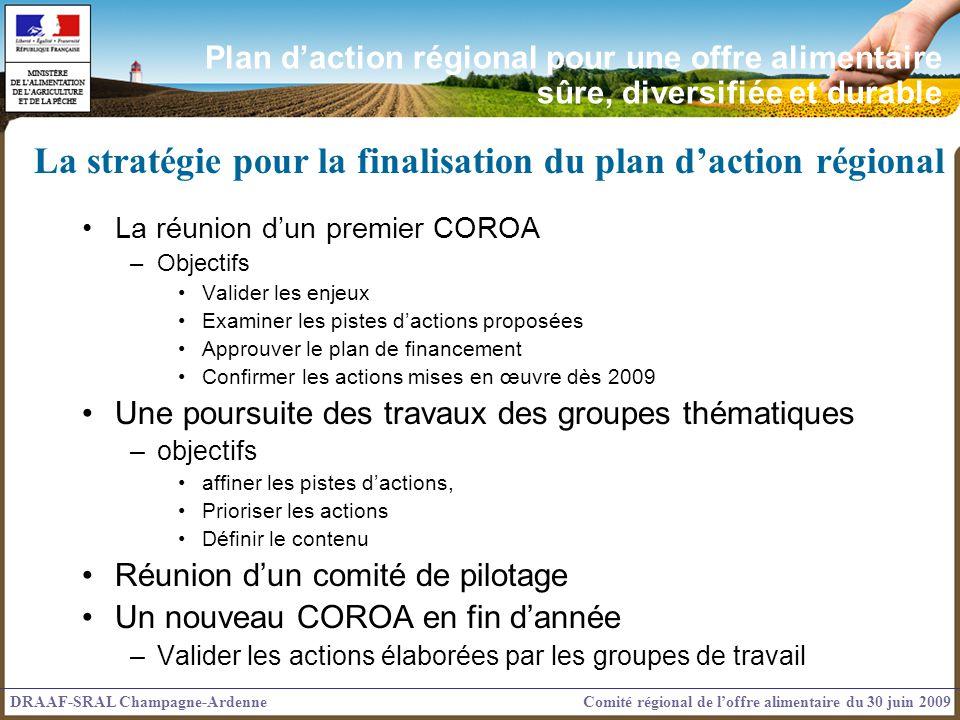 La stratégie pour la finalisation du plan d'action régional