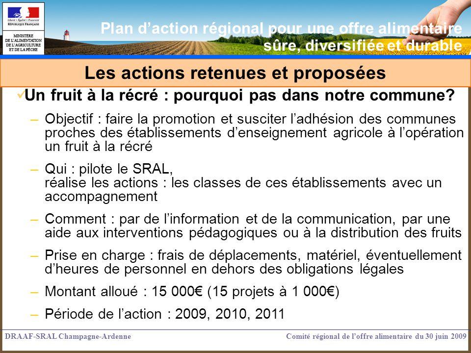 Les actions retenues et proposées