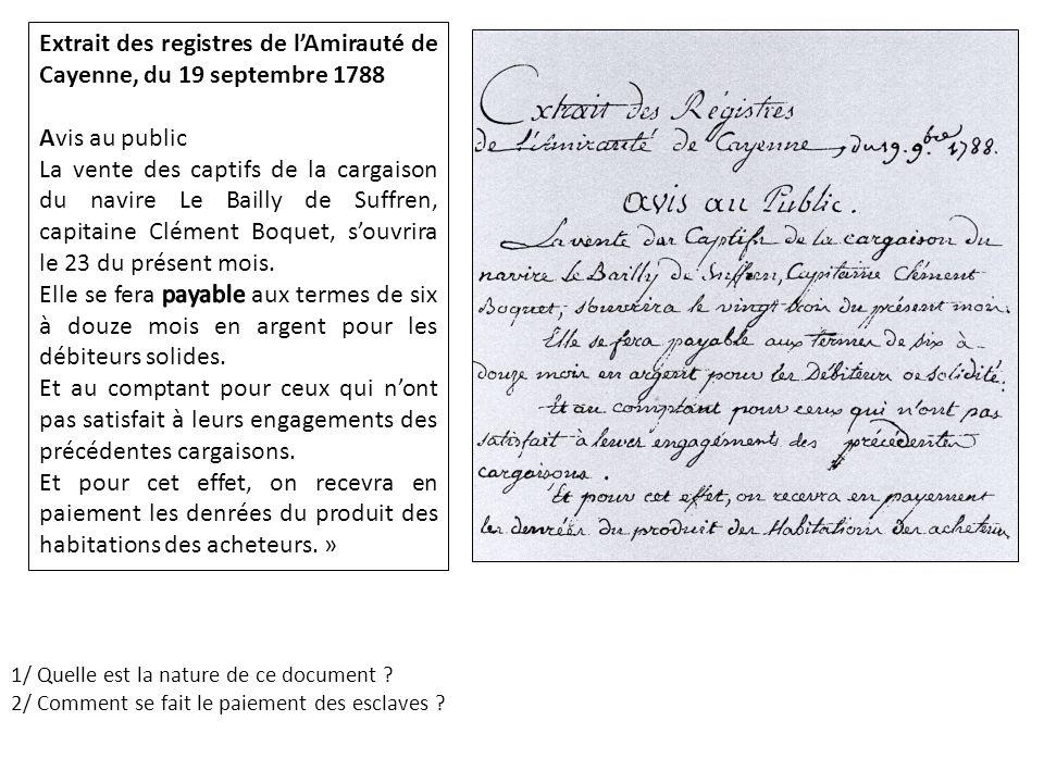 Extrait des registres de l'Amirauté de Cayenne, du 19 septembre 1788